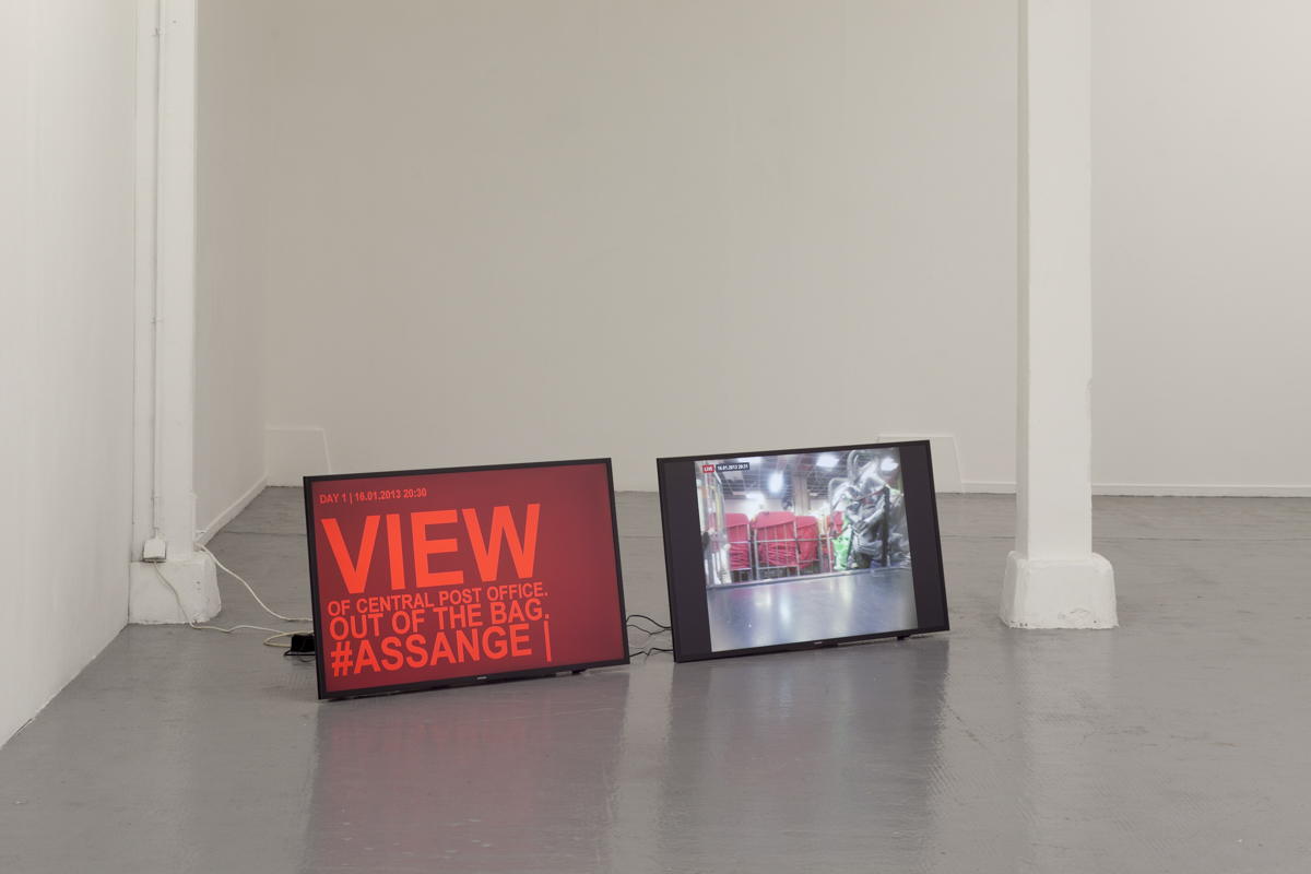 !Mediengruppe Bitnik, Delivery for Mr. Assange, 2013-14. Photo : Philippe Piron